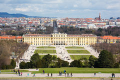 Vienna panorama, park and Schonbrunn Palace view from Gloriette Royalty Free Stock Photos