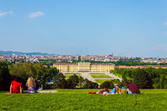 Vienna panorama and Schonbrunn Palace Stock Photography