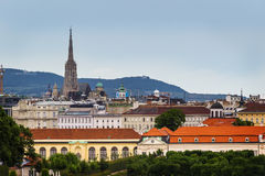 Vienna, panorama view of town and mountains in background. Royalty Free Stock Image