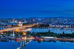 Vienna Panoramic At Night Royalty Free Stock Photography