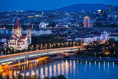 Vienna Panoramic At Night Royalty Free Stock Images