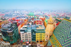 Vienna. Panoramic view from the roof of St Stephen`s cathedral. Vienna, Austria Stock Images