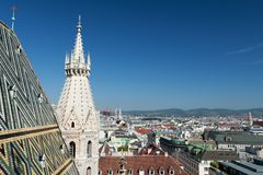 Vienna panoramic view from St.Stephans Cathedral Stock Image