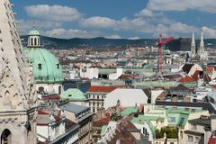 Vienna panoramic view from St.Stephans Cathedral Royalty Free Stock Image
