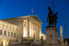 Vienna Parliament. Austrian Parliament building in Vienna seen from the side, night scene Royalty Free Stock Photography