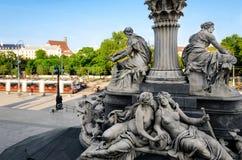 Vienna, Parliament monumental fountain Royalty Free Stock Photo