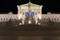 Vienna Parliament Night  Stock Photos