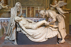 Vienna - Plaster statue of Burial of Jesus with the Nicodemus and Joseph from Arimatea Royalty Free Stock Photos