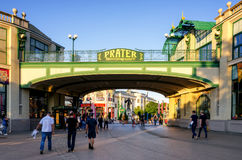 Vienna, Prater amusement park entrance. VIENNA, AUSTRIA - MAY 18, 2017: Main entrance of riesenradplatz, square of the famous Prater amusement park in Vienna Stock Photography