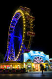 Vienna, Prater Riesenrad at night. VIENNA, AUSTRIA - MAY 18, 2017: the famous Riesenrad illuminated at night, old giant ferris wheel in Prater, public amusement Stock Images