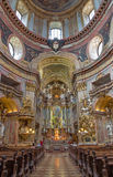 Vienna - Presbytery and nave of baroque st. Peter church or Peterskirche by Antonio Galli da Bibiena und Martino Altomonte (altar Royalty Free Stock Photos