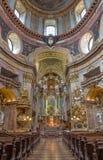 Vienna - Presbytery and nave of baroque st. Peter church or Peterskirche by Antonio Galli da Bibiena und Martino Altomonte (altar. Paint) on July 3, 2013 Vienna Royalty Free Stock Photos
