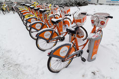 Vienna Public Bikes in the Winter Stock Photo