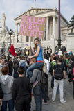 Vienna, pupils strike in front of parliament Stock Photos