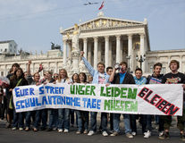 Vienna, pupils strike in front of parliament Royalty Free Stock Photos