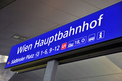 Vienna railway station sign Stock Photos