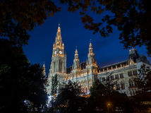Vienna Rathaus (City Hall) at Night Royalty Free Stock Image