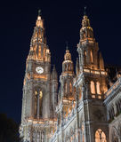 Vienna Rathaus (City Hall) at Night Stock Photography