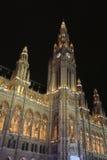 Vienna rathaus at night Stock Photos