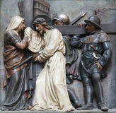 Vienna - relief Christ fall under the cross stock image