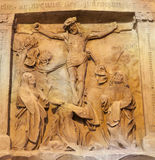 Vienna - Relief of Crucifixion as detail of old tomb on facade of st. Stephen Royalty Free Stock Images
