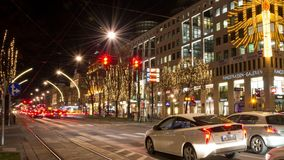 Vienna Ring street night time-lapse zoom-in. VIENNA, AUSTRIA - DECEMBER 19, 2017: Moving time-lapse of the Ringstraße traffic at Ringstraßen-Galerien Kärntner stock video footage