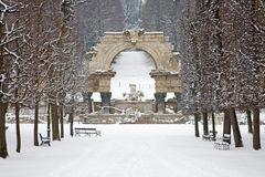 Vienna - Ruins in gardens of Schonbrunn palace in winter Royalty Free Stock Image