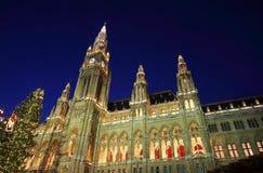 Vienna's City Hall at christmas. Advent Stock Photo