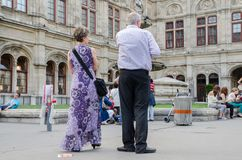 Vienna`s opera visitors waiting for the concert start stock photo