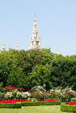 Vienna's Rathaus (City Hall) beyond Volksgarten park Royalty Free Stock Photos