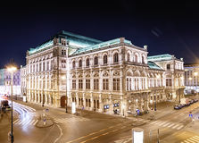 Vienna& x27;s State Opera House at night, Austria. Royalty Free Stock Photos