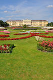 Vienna, Schönbrunn Castle and Garden with flowers Stock Photo