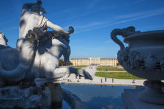 Vienna -  The Schonbrunn palace and gardens from Neptune fountain. Stock Photos