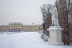 Vienna - Schonbrunn palace and statues of mythology Royalty Free Stock Photography