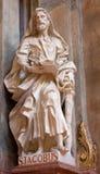 Vienna - scultura dell'apostolo Jacob dall'altare laterale della chiesa barrocco di St Peter Immagini Stock Libere da Diritti