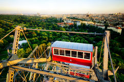 Vienna seen from the Prater Riesenrad. Sunset panorama of Vienna from the famous Prater Riesenrad, old giant ferris wheel and famous landmark of the city Stock Image