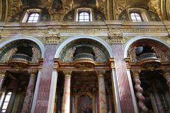 Vienna - Jesuit church. VIENNA - SEPTEMBER 9: Interior of Jesuit Church on September 9, 2011 in Vienna. The building was completed in 1627 and is a remarkable stock photos