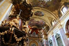 Vienna church. VIENNA - SEPTEMBER 9: Interior of Jesuit Church on September 9, 2011 in Vienna. The building was completed in 1627 and is a remarkable example of stock image