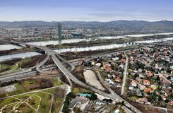Vienna Skyline. Vienna cityscape with Danube, New Danube, crossroad and four bridges stock photography