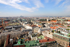 Vienna Skyline. From St Stephens DOM Tower stock images