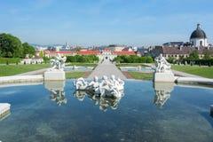 Vienna skyline from Belvedere garden, Austria stock photo