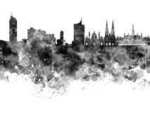 Vienna skyline in black watercolor Royalty Free Stock Photo