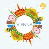 Vienna Skyline with Color Buildings, Blue Sky and Copy Space. Vector Illustration. Business Travel and Tourism Concept with Modern Architecture. Image for Stock Illustration