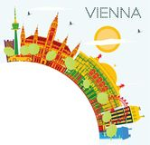 Vienna Skyline with Color Buildings, Blue Sky and Copy Space. Royalty Free Stock Images