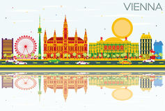 Vienna Skyline with Color Buildings, Blue Sky and Reflections. Vector Illustration. Business Travel and Tourism Concept with Modern Architecture. Image for Vector Illustration