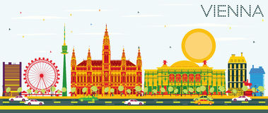 Vienna Skyline with Color Buildings and Blue Sky. Vector Illustration. Business Travel and Tourism Concept with Modern Architecture. Image for Presentation Stock Illustration