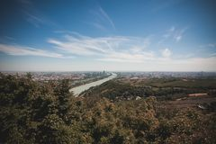 Vienna skyline with danube river, Austria Stock Images