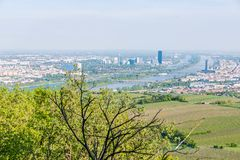 Vienna skyline and danube river Stock Photo