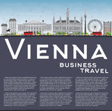 Vienna Skyline with Gray Buildings, Blue Sky and Copy Space. Royalty Free Stock Photo