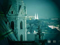 Vienna skyline at night. Scenic view of the skyline of Vienna city at night viewed from Stephansdom cathedral, Stephansplatz, Vienna, Austria royalty free stock photo